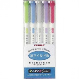 Zebra Mildliner Double Sided Tekstmarker - Fine & Bold - Cool & Warm Colors - Set van 5, verpakt in een Zipperbag