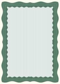 Certificaat / Diploma Papier  Green Wave,  30 Vel Formaat  A4 =  210 x 297 mm 90g/m² met Zegels