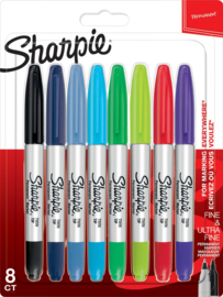 Sharpie Permanente Markers Twin Tip, Set van 8