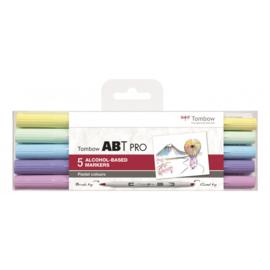 Tombow ABT Pro setPastel Colors 5 stuks.  Markers gebaseerd op Alcoholbasis