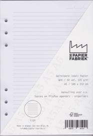 Aanvulling A5 voor o.a. Succes, Filofax en Kalpa Agenda's/Planners 50 vel = 100 pagina's 120 g/m², Gelinieerd (Smal) A5 Formaat Wit Papier