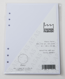 Aanvulling A5 voor o.a. Succes, Filofax agenda's /planners 50 vel, 120gr, Wit  Blanco A5 Papier