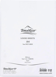 Tomoe River Paper A4 / 50 Vel = 100 Pagina's, 52g/m2, Dotted Wit Papier
