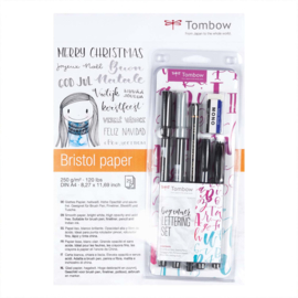 Tombow Bundel Hand Lettering - Lettering Set Beginner + Bristol tekenblok, + één A5 Formaat Zipperbag Etui