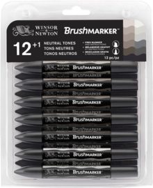 Winsor & Newton Brushmarker Set 12 Grijstinten + GRATIS Blender