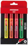 Acryl Markers M set 4 reflex kleuren 4 mm (reflexgeel, reflexoranje, reflexrose, reflexgroen)