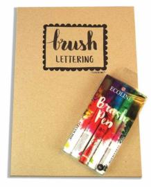 A4 Oefenbok Brushlettering + 5 Talens Ecoline Brushpennen in een Zipperbag