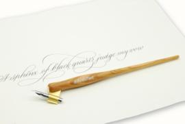 Handwritmic Oblique Olive Wood Penhouder voor de Nikko G Nib