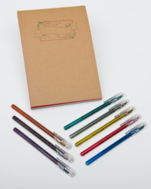 Handlettering Oefenblok A4 Kerst Editie + 8 stuks Pentel Hybrid Dual Metallic Gel Pennen