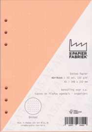 Aanvulling A5  voor o.a. Succes, Filofax agenda's /planners 50 vel, 120gr Dotted Abrikoos Papier