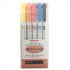 Zebra Mildliner Double Sided Tekstmarker - Fine & Bold - Friendy Colors  - Set van 5, verpakt in een Zipperbag