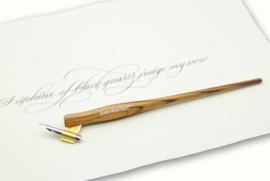 Handwritmic Oblique Zebra Wood Penhouder voor de Nikko G Nib