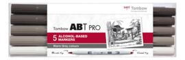 Tombow ABT Pro setWarm  Grey  Colors 5 stuks.  Markers gebaseerd op Alcoholbasis