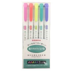 Zebra Mildliner Double Sided Tekstmarker - Fine & Bold - Refresh - Bright  - Set van 5, verpakt in een Zipperbag