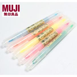 Muji Twin Highlighter met een Venster,  kleur inkt Geel
