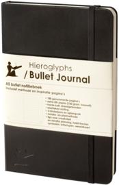 Hieroglyphs Bullet Journal  Zwart– 100g/m²  Papier – Hard Cover  - NL Handleiding en Inspiratie + GRATIS BuJo Liniaal