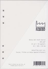 Aanvulling  A5 voor o.a. Succes, Filofax en Kalpa Agenda's /Planners 25 vel = 50 pagina's A5 Formaat Kraft Wit 300 g/m² 6 gaats karton