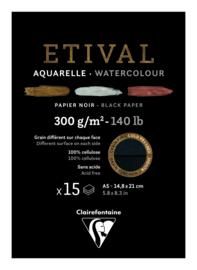 Clairefontaine Etival Blok A5 Zwart Aquarel Papier 15 Vel / 300gram