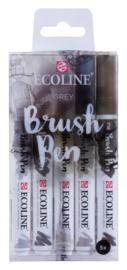 Ecoline Brushpen Set van 5 kleur Grijs