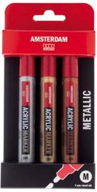 Acryl Markers M set 3 metallic kleuren 4 mm (zilver, lichtgoud, donkergoud)