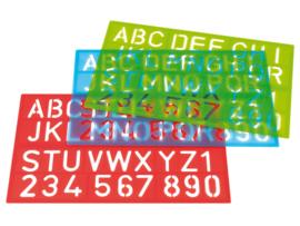 3 Letter- en Cijfersjablonen in de kleuren Blauw, Rood en  Groen