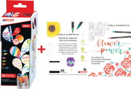 Edding Brushpennen  Colour Happy box 20 stuks + GRATIS 1 x boekje Flower Power Carla Kamphuis