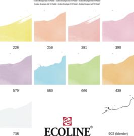 Talens Ecoline set van 10 Brush Pennen Pastel Kleuren + 1 x A4 Ecoline Blok Papier + 1 A4 Zipperbag