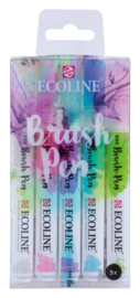 Ecoline Brushpen Set 5 Pastel + GRATIS Zipperbag