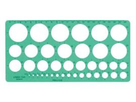 Sjabloon Linex 1116S,  39 Cirkels 1-35mm met Inktvoetjes