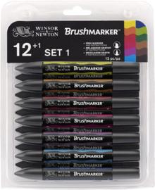 Winsor & Newton Brushmarker Set 12 Heldere Kleuren + GRATIS Blender