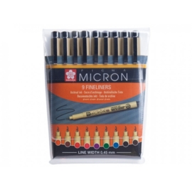 Sakura Pigma Micron 05 Fineliner - 0.45 mm - Set van 9