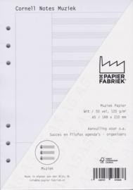 Aanvulling A5 voor o.a. Succes, Filofax en Kalpa Agenda's /Planners 50 vel = 100 pagina's, Cornell Notes Muziek A5 Formaat Wit 120 g/m² Papier