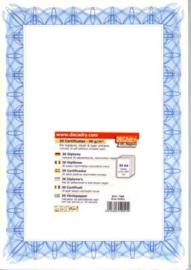 Certificaat / Diploma Papier  Blue Reflex,  30 Vel Formaat  A4 =  210 x 297 mm 90g/m² met Zegels