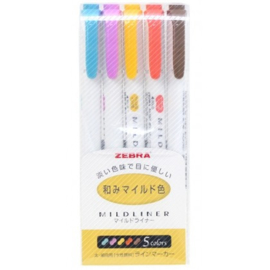 Zebra Mildliner Double Sided Tekstmarker - Fine & Bold - Mild Deep & Warm Colors - Set van 5, verpakt in een Zipperbag