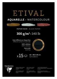 Clairefontaine Etival Blok A3 Zwart Aquarel Papier 15 Vel / 300gram