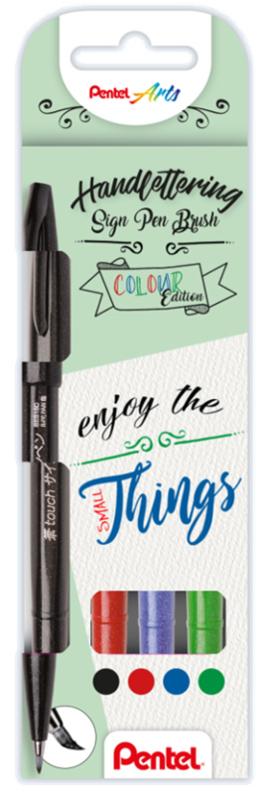 Pentel Brush SES15C  Set met 4 kleuren : Zwart, Rood, Blauw en Groen.