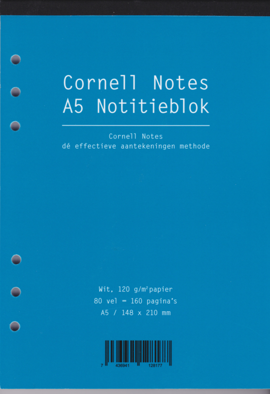 Aanvulling A5 voor o.a. Succes, Filofax en Kalpa Agenda's /Planners 80 vel = 160 pagina's, Cornell Notes Notitieblok A5 Formaat Wit 120 g/m² Papier