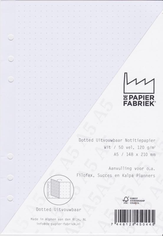 A5 Dotted Uitvouwbaar 120g/m² Notitiepapier 50 Vel = 100 Pagina's  voor 6-Ring Planners