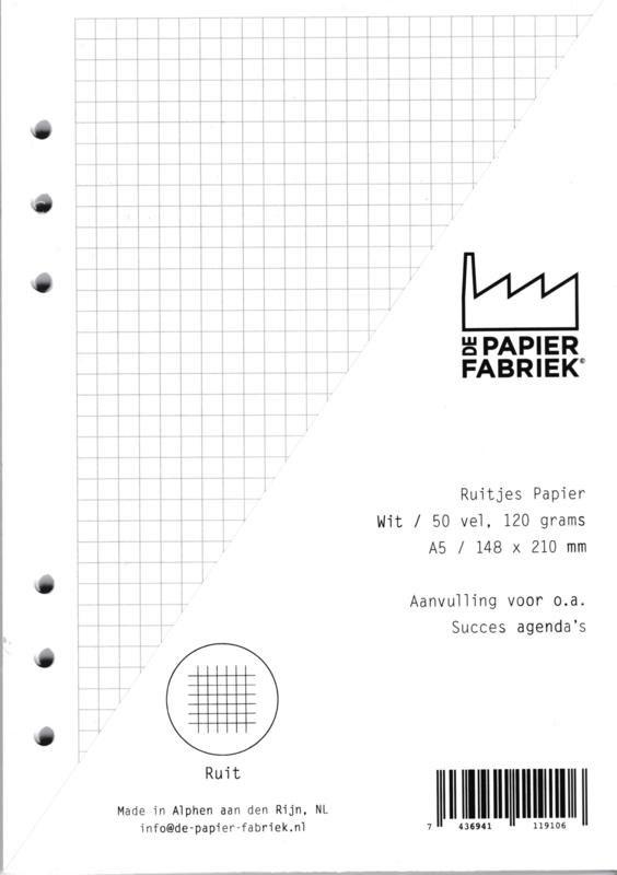 Aanvulling A5 voor o.a. Succes, Filofax agenda's /planners 50 vel,120 g/m² Ruitjes A5 Papier