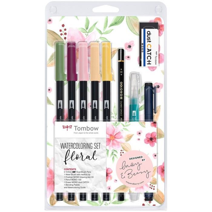 Tombow Watercoloring Set - Floral - Set van 11 + Hoogwaardig Aquarelblok 10 Vel,  210 g/m