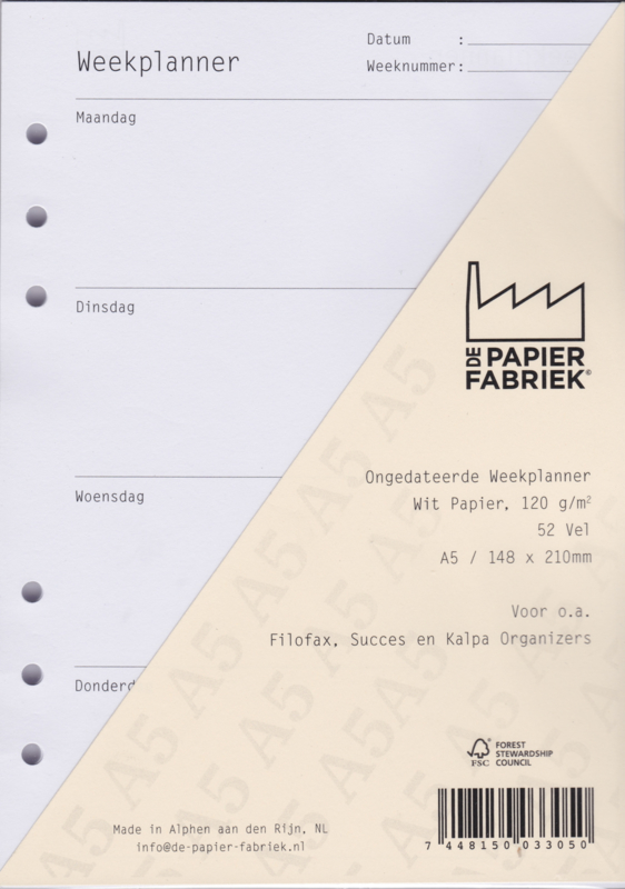 Aanvulling Ongedateerde Weekplanner 120g/m² Wit A5 Papier voor Succes, Filofax of Kalpa Organizers