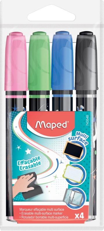 Krijtmarkers merk: Maped, Etui met 4 stuks in geassorteerde kleuren + GRATIS Zipperbag