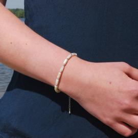 Armband schelp tube cream beige