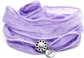 Zijde knoop armband flower lila
