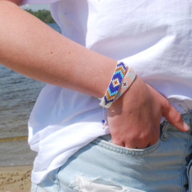Armband Bohemian geweven evening bleu