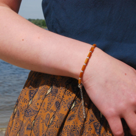 Armband schelp tube golden brown