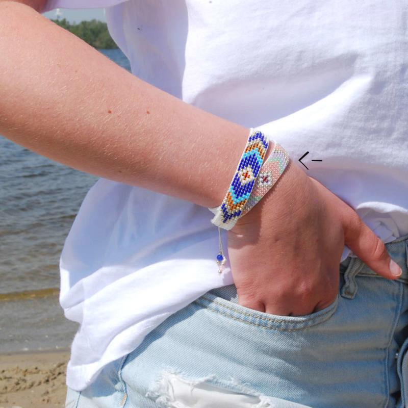 Armband Bohemian geweven salom lilac and gold
