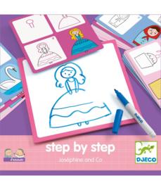 Djeco Step by Step tekenkaarten  Prinsessen