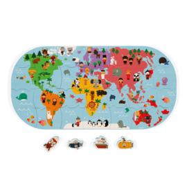 Janod Badspeelgoed Puzzel Wereldkaart