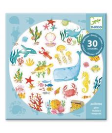 Djeco 30 glitterstickers  Zeedieren